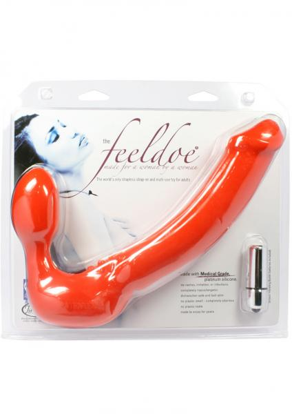 Feeldoe More Strapless Strap On Silicone Dildo 6.75 Inch Red