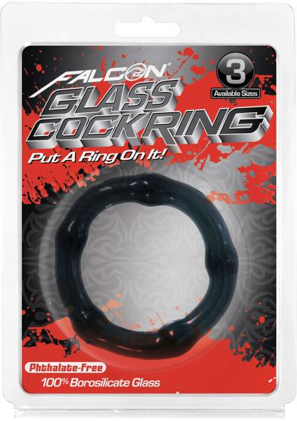 Glass Cockring Black 1.96 Inch Diameter