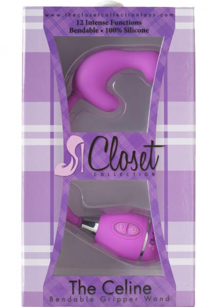 Closet Collection The Celine Bendable Gripper Wand Silicone Massager Waterproof Purple