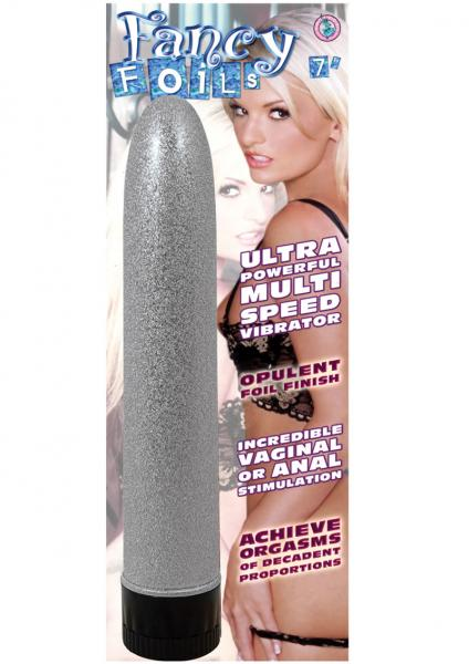 Fancy Foils Ultra Powerful Multispeed Vibrator 7 Inch Silver
