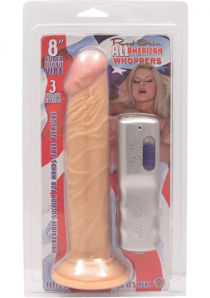 All American Whoppers Vibrating Dong 8 Inches Beige
