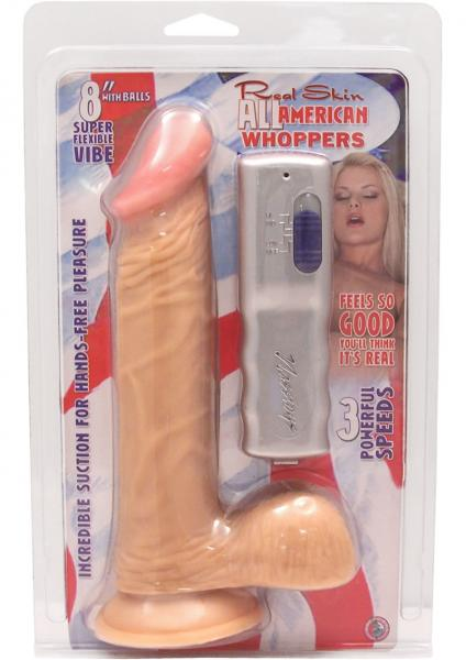 All American Whoppers 8in Vibrating Dong With Balls - Beige