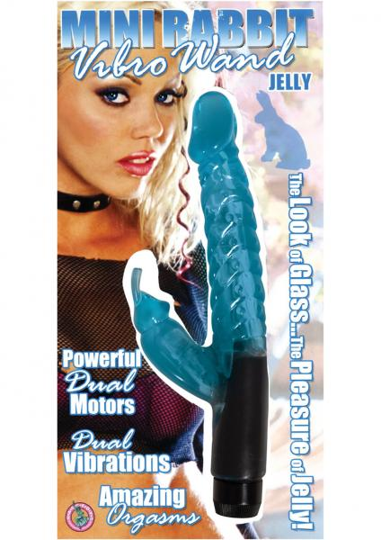 Jelly Mini Rabbit Vibro Wand 6 Inch Blue