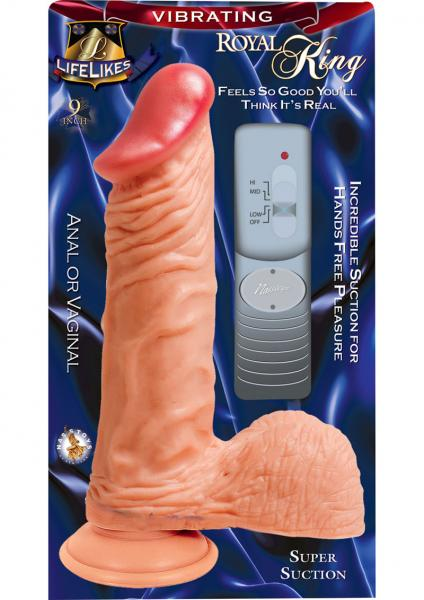 Lifelikes Vibrating Royal King Vibrator 9 Inch Flesh