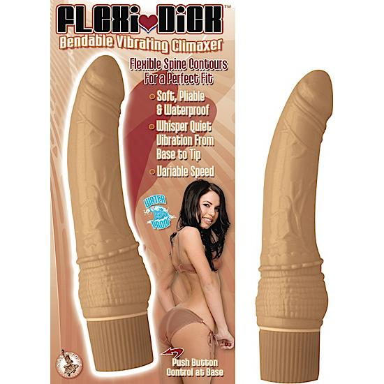 Flexi Dick Bendable Vibrating Climaxer Cafe Latte