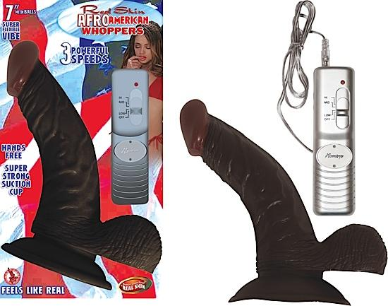 Afro American Whoppers Vibrating Dong, Balls 7 inches Brown