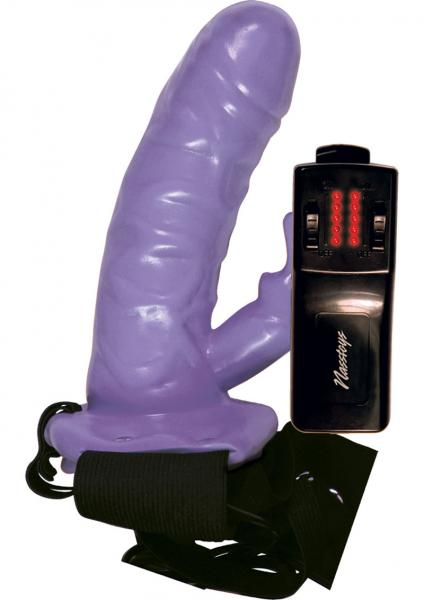 Strap On Power Cock Hollow With Vibrating Rabbit Multispeed Remote 6 Inch Purple