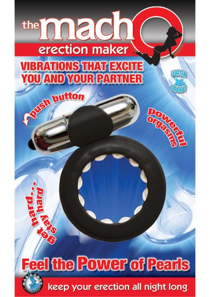 The Macho Erection Maker Cockring Waterproof Black