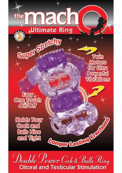 The Macho Ultimate Ring Double Power Cock And Ball Ring Clitoral And Testicular Stimulator Purple