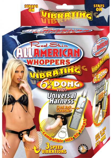 All American Whoppers Vibrating Dong Universal Harness 6.5in Beige