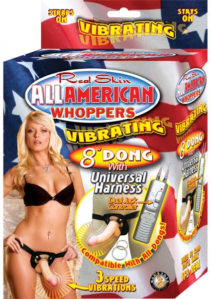 All American Whoppers 8in Vibrating Dong With Universal Harness