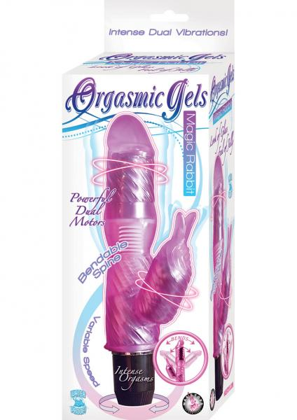 Orgasmic Gels Magic Rabbit Vibrator Waterproof 7 Inch Pink