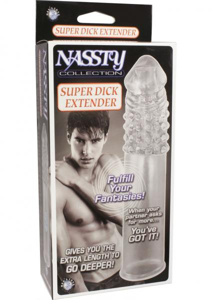 Nassty Super Dick Extender Waterproof Clear 3.5 inches