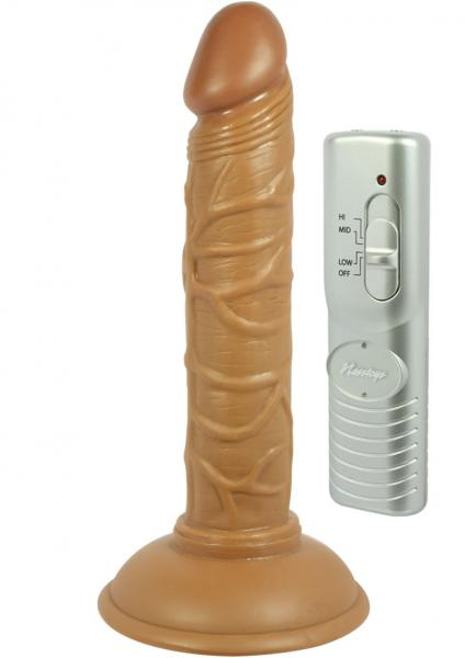 Real Skin Latin American Mini Whoppers Vibrating Dong Brown 5 Inch