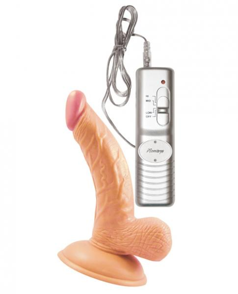 Mini Whoppers Vibrating Dong With Balls 4 inches Beige