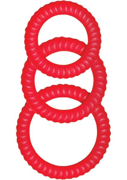 Ultra Cocksweller Silicone C Rings - Red