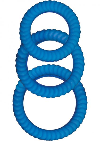 Ultra Cocksweller Silicone C Rings - Blue