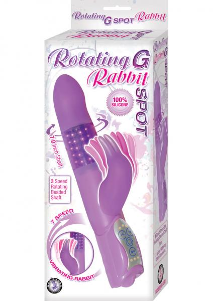 Rotating G Spot Rabbit Silicone Vibrator Waterproof Purple 7 Inch