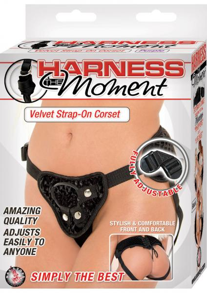Harness The Moment Velvet Strap On Corset -Black