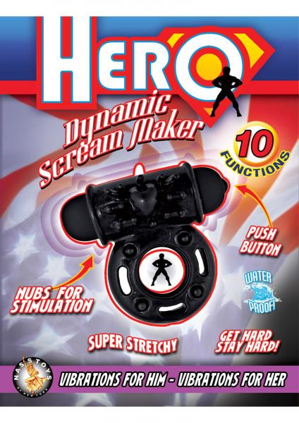 Hero Dynamic Scream Maker Cockring Waterproof Black