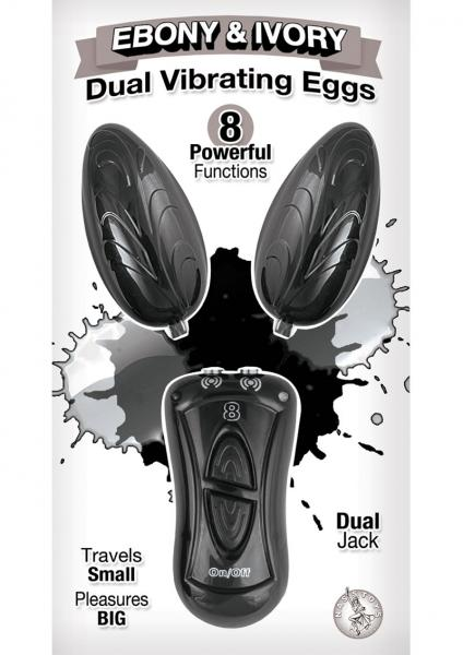 Ebony & Ivory Dual Vibrating Remote Control Eggs Black