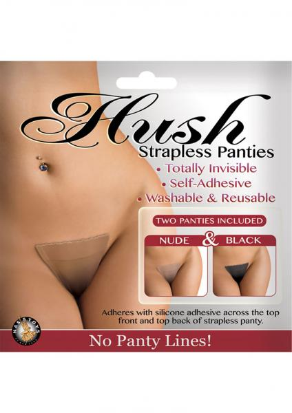 Hush Strapless Adhesive Panties 2 Each Per Pack Nude And Black Small/Medium