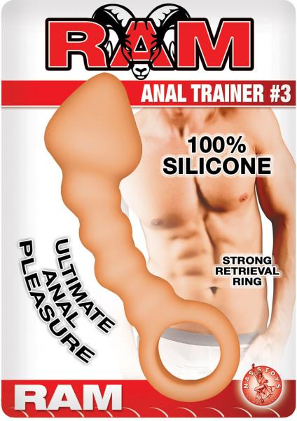 Ram Anal Trainer #3 Silicone Anal Beads Waterproof Flesh 5.5 Inch