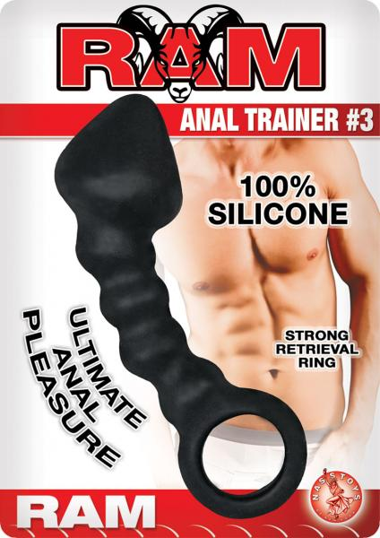 Ram Anal Trainer #3 Silicone Anal Beads 5.5 Inch - Black