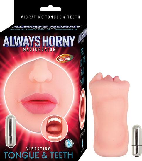 Always Horny Masturbator Vibrating Teeth & Tongue Beige