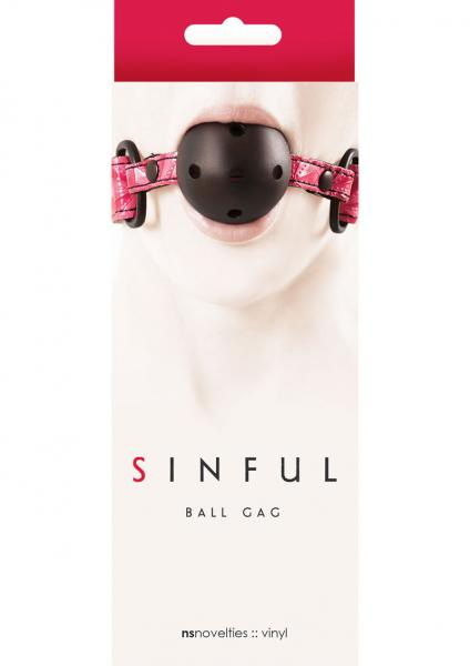 Sinful Adjustable Vinyl Ball Gag - Pink
