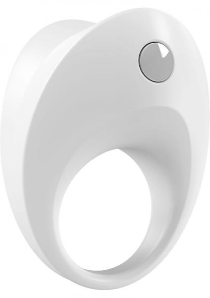 Ovo B10 Silicone Cock Ring Waterproof White And Chrome