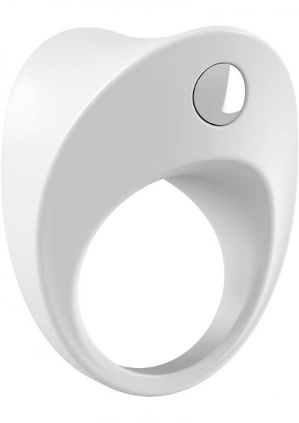 Ovo B11 Silicone Cock Ring Waterproof White And Chrome