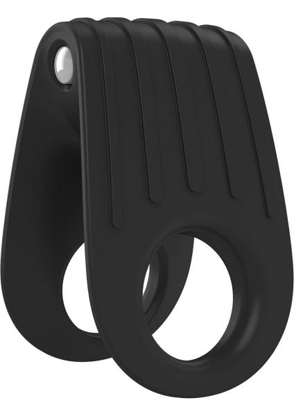 Ovo B12 Silicone Cock Ring Waterproof Black And Chrome