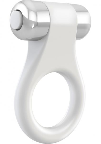 Ovo B1 Cock Ring Waterproof White And Chrome