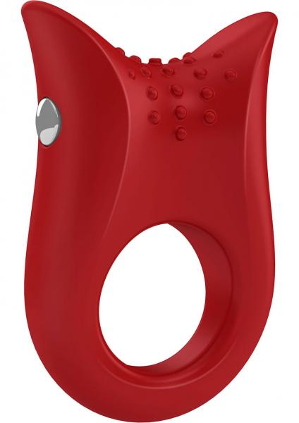 Ovo B2 Silicone Cock Ring Waterproof Red And Chrome