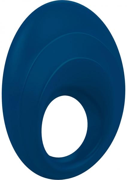 Ovo B5 Silicone Cock Ring Waterproof Blue And Chrome