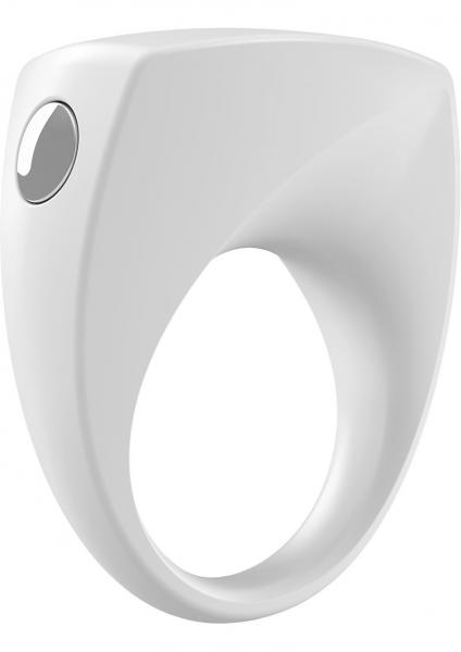 Ovo B6 Silicone Cock Ring Waterproof White And Chrome