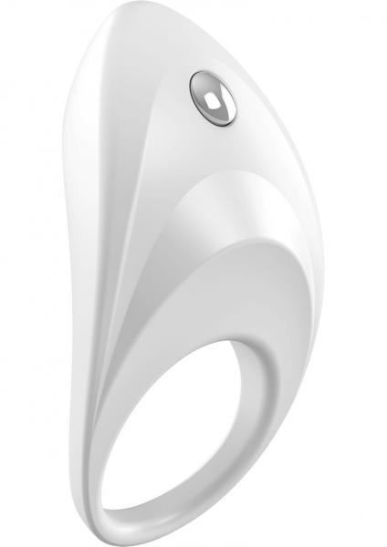 Ovo B7 Silicone Cock Ring Waterproof White And Chrome