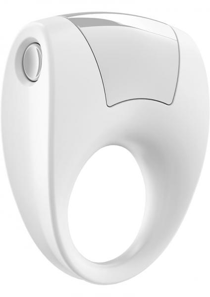 Ovo B8 Silicone Cock Ring Waterproof White And Chrome