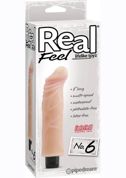 Real Feel Lifelike Toyz No. 6 Beige Vibrating Dildo