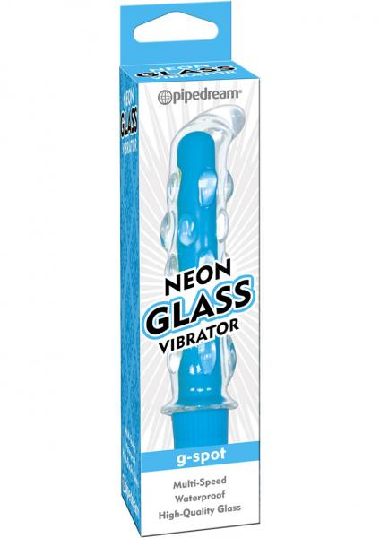 Neon Glass Vibrator G Spot Waterproof 5.75 Inch Blue