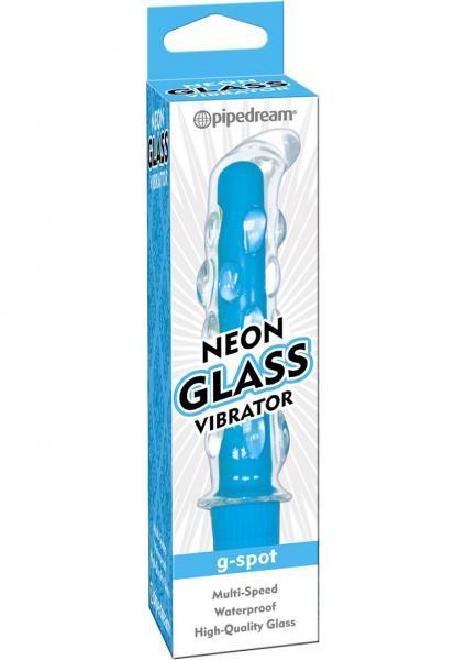 Neon Glass Vibrator G Spot Waterproof 5.75 Inch Blue
