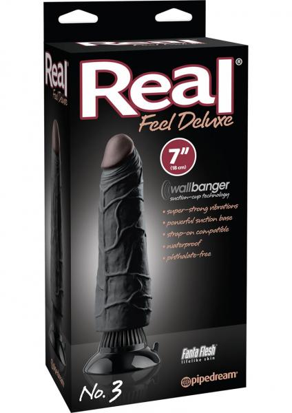 Real Feel Deluxe No 3 Wallbanger Dildo Waterproof Black 7 Inch