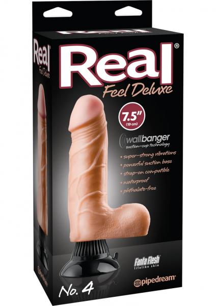 21 Real Feel Deluxe No 4 Wallbanger Dildo Waterproof 7.5 Inch - Beige