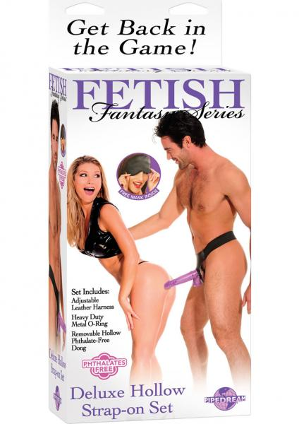 Fetish Fantasy Purple Deluxe Hollow Strap On Set 7.25 Inch Purple