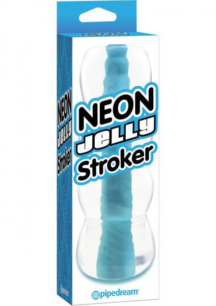 Neon Jelly Stroker Waterproof 6 Inch Blue
