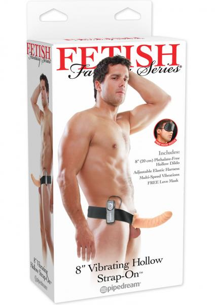 Vibrating Hollow Strap On 8 Inch - Flesh