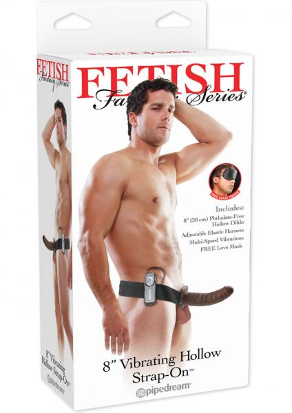 Vibrating Hollow Strap On Brown 8 Inch