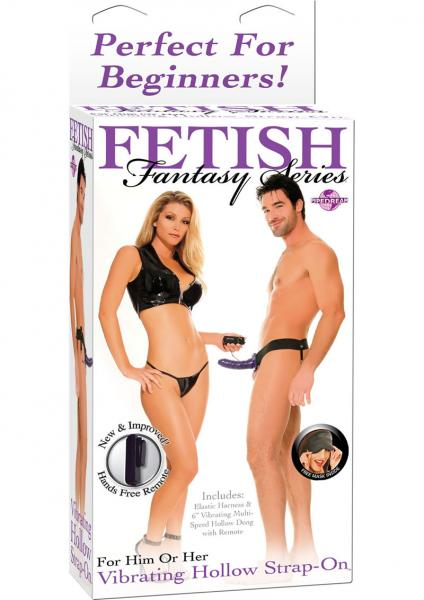 Fetish Fantasy Vibrating Hollow Strap On 6.5 Inch  Purple