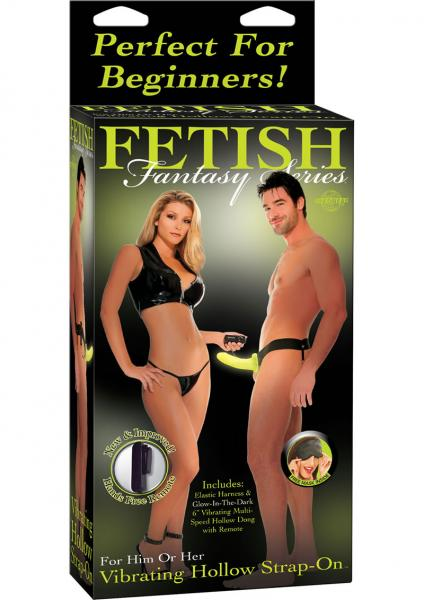 Fetish Fantasy Vibrating Hollow Strap On 6.5 Inch  Glow In Dark
